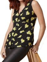 NEXT SLEEVELESS BLACK YELLOW FLORAL COTTON SHIRT SIZES 6-22